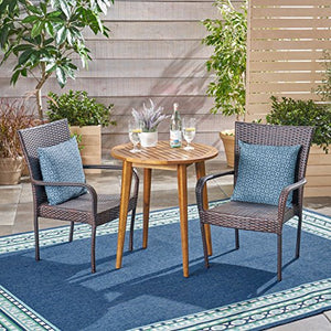Great Deal Furniture Mayes Outdoor 3 Piece Wood and Wicker Bistro Set, Teak Finish and Multi Brown