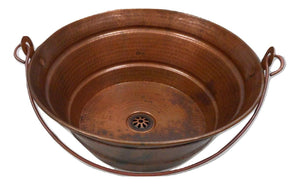 "15"" Round Copper Vessel BUCKET Bath Sink With a Natural Fire Patina and Daisy Drain by SimplyCopper"