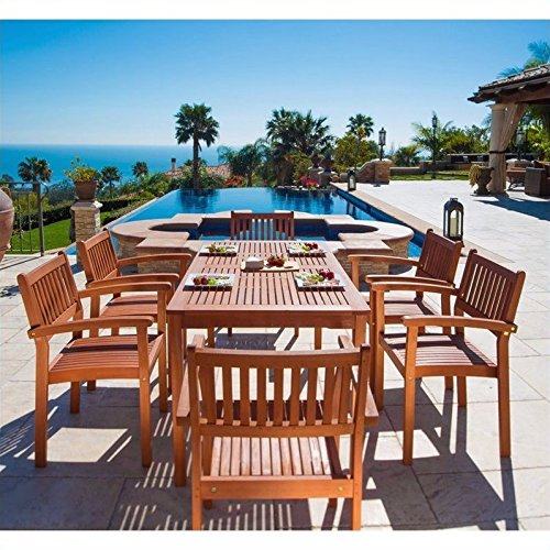 Malibu V98SET10 Eco-Friendly 7 Piece Wood Outdoor Dining Set with Stacking Dining Chairs