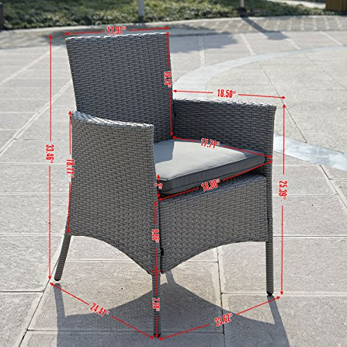 Giantex 5 Pc Patio Rattan Furniture Set Outdoor Backyard Dining Table and 4 Chairs Gray