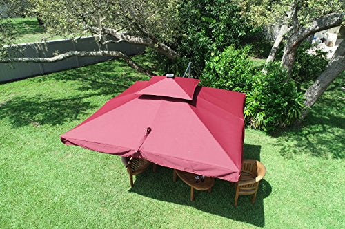 Terrazza 10 Foot Offset Cantilever Solar Powered Led Lighted Outdoor Patio Umbrella Square Parasol Infinite Tilt Position With Cross Base Brown