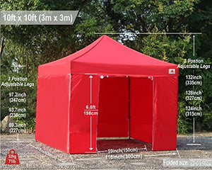 (18+ colors)AbcCanopy Commercial 10x10 Ez Pop up Canopy, Party Tent, Fair Gazebo with 6 Zipped End Sidewalls and Roller Bag Bonus 4x Weight Bag (red)