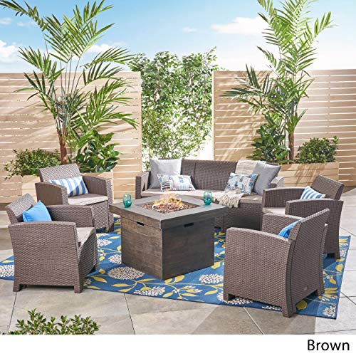 Great Deal Furniture Peter Outdoor 7-Seater Chat Set with Fire Pit, Brown and Mixed Beige