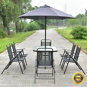 COLIBROX--8PCS Patio Garden Set Furniture 6 Folding Chairs Table with Umbrella Gray New. and brand new. Perfect for patio, garden, deck, and pool side