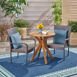 Great Deal Furniture Baer Outdoor 3 Piece Acacia Wood and Wicker Bistro Set, Teak with Multi Brown Chairs