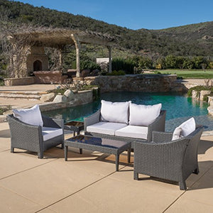 Caspian 5 Piece Outdoor Wicker Furniture Patio Chat Set