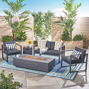 Great Deal Furniture Gill Outdoor 4-Seater Aluminum Chat Set with Fire Pit and Tank Holder, Dark Gray and Black and Dark Gray