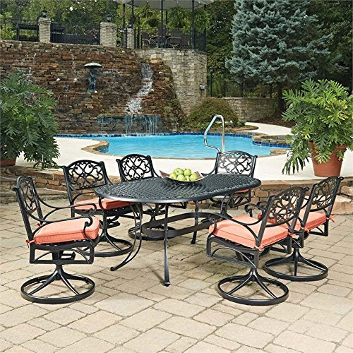 Home Styles 5554-335C 7 Piece Biscayne Oval Outdoor Dining Set, Black