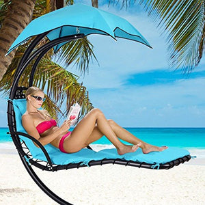 300lbs Max Weight Capacity Hanging Chaise Lounger Chair with Umbrella Garden Air Porch Arc Stand Floating Swing Hammock Chair BLUE gift a zippered poly bag