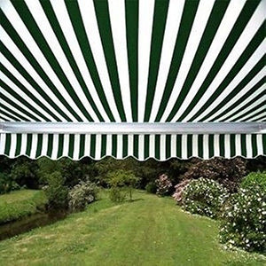 ALEKO AW13X10GWSTR00 Retractable Patio Awning 13 x 10 Feet Green and White Striped