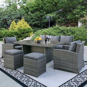 Best Choice Products Complete Outdoor Living Patio Furniture 6-Piece Wicker Dining Sofa Set- Grey