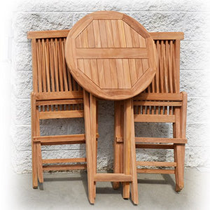King Teak 3 Piece Patio Bistro Sets, Gold Teak Wood Round Table Folding Chairs Patio Furniture Set