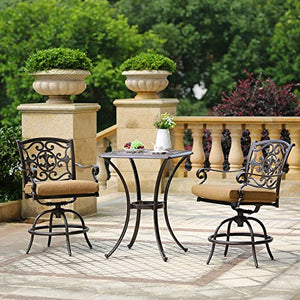 Domi Outdoor Living Patio Bar Set, Outdoor Patio 3pcs Set Pedestal Bar Table, Antique Bronze Cast Aluminum