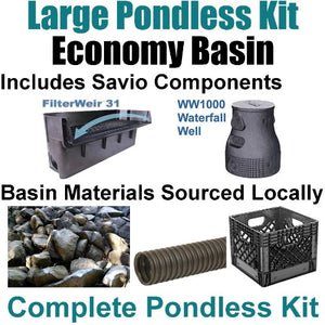 "15 x 25 Large Pondless Waterfall Kit With Anjon 6,100 GPH Hybrid Mag Drive Pump, Savio 31"" Waterfall & Savio Waterfall Well PLS2"