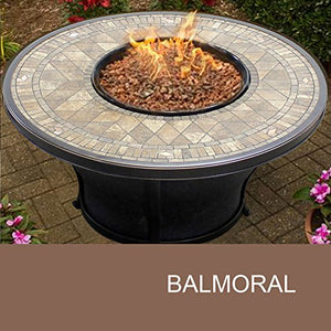 TK Classics FP-BALMORAL-KIT Balmoral Round Porcelain Top Gas Fire Pit Table, 48""