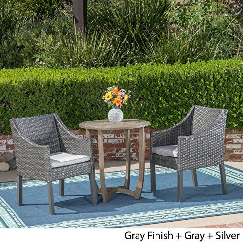 Great Deal Furniture Matthew Outdoor 3 Piece Wood and Wicker Bistro Set, Gray and Gray