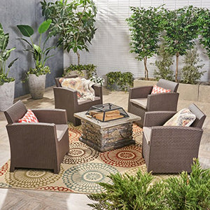 Great Deal Furniture Victor Outdoor 4-Seater Chat Set with Wood Burning Fire Pit, Brown and Mixed Beige and Natural Stone