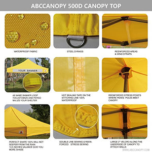 ABCCANOPY Commercial 10x10 Instant Canopy Craft Display Tent Portable Booth Market Stall with Wheeled Bag & Full Walls, Bonus 4x Weight Bag & 10ft Screen Wall & 10ft Half Wall (yellow)