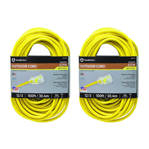 ( 25890002 2589SW0002 Outdoor Cord-12/3 American Made SJTW Heavy Duty 3 Prong Extension Cord, Water Resistant Vinyl Jacket, for Commercial Use and Major Appliances, Foot, 100 Feet, Yellow 2 Pack