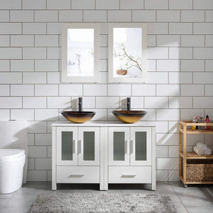 "48"" Double Sink Bathroom Vanity Cabinet White Marble Pattern Top w/Mirror Faucer & Drain (Glass Sink 3)"