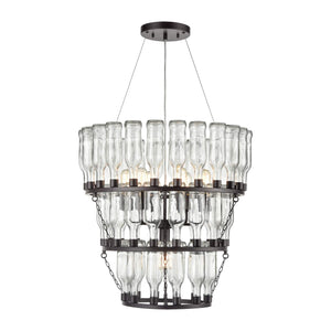 "Contemporary Home Living 26"" Clear Bottle 7-Light Pendant Chandelier"