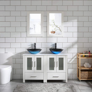 "48"" Double Sink Bathroom Vanity Cabinet White Marble Pattern Top w/Mirror Faucer & Drain (Glass Sink 1)"