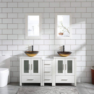 "60"" Bathroom Vanity Cabinet White Double Sink Marble Pattern Top w/Mirror Faucet&Drain (Glass sink 3)"