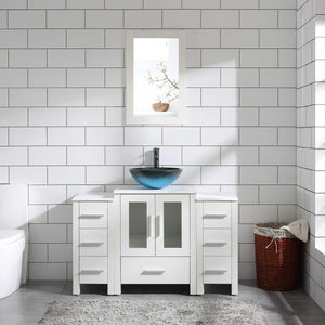 "48"" Bathroom Vanity Cabinet White Double Sink Marble Pattern Top w/Mirror Faucet&Drain"