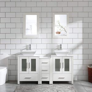 "60"" Bathroom Vanity Cabinet White Double Sink Marble Pattern Top w/Mirror Faucet&Drain (Ceramic Sink)"