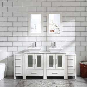 "72"" Bathroom Vanity Cabinet White Double Sink Marble Pattern Top w/Mirror Faucet&Drain"