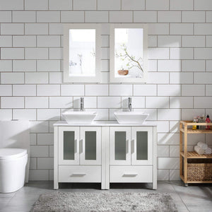 "48"" Double Sink Bathroom Vanity Cabinet White Marble Pattern Top w/Mirror Faucer & Drain (Ceramic Sink)"