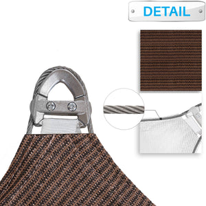 Patio Large Sun Shade Sail 24' x 24' x 34' Right triangle Heavy Duty Strengthen Durable Outdoor Canopy UV Block Fabric A-Ring Design Metal Spring Reinforcement 7 Year Warranty -Brown