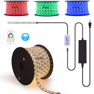 120 Ft 24V Waterproof Long Run RGB LED Rope Light Kit RF Touch Controller Multicolors Changing LED Strip Light Bar Plug & Play Ceiling Crown Molding Railing Deck Patio Accent Lighting