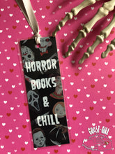 Load image into Gallery viewer, Horror books and chill, handmade bookmark
