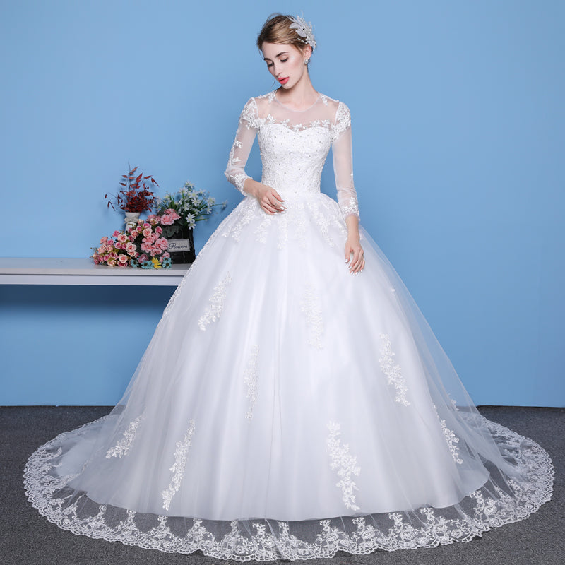 ... Mrs Win Sexy See Through Wedding Dress Luxury Long Sleeve Wedding Gown  2018 Lace Beaded Mariage 92ed5b710