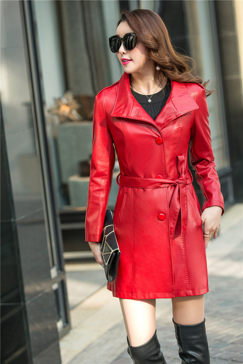 3766825a6b791 2018 Autumn Winter Soft Faux Leather jacket Female Single Breasted Plus  Size Women Long PU Leather