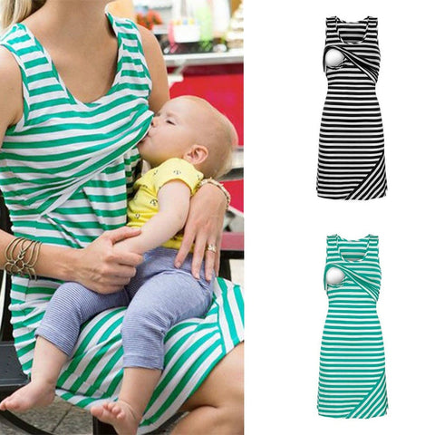 784f372b4ef5f 2019 Casual Maternity Dresses Nursing Breastfeeding Clothes Sleeveless  Loose Short Women Nursing Tops Dress Size:
