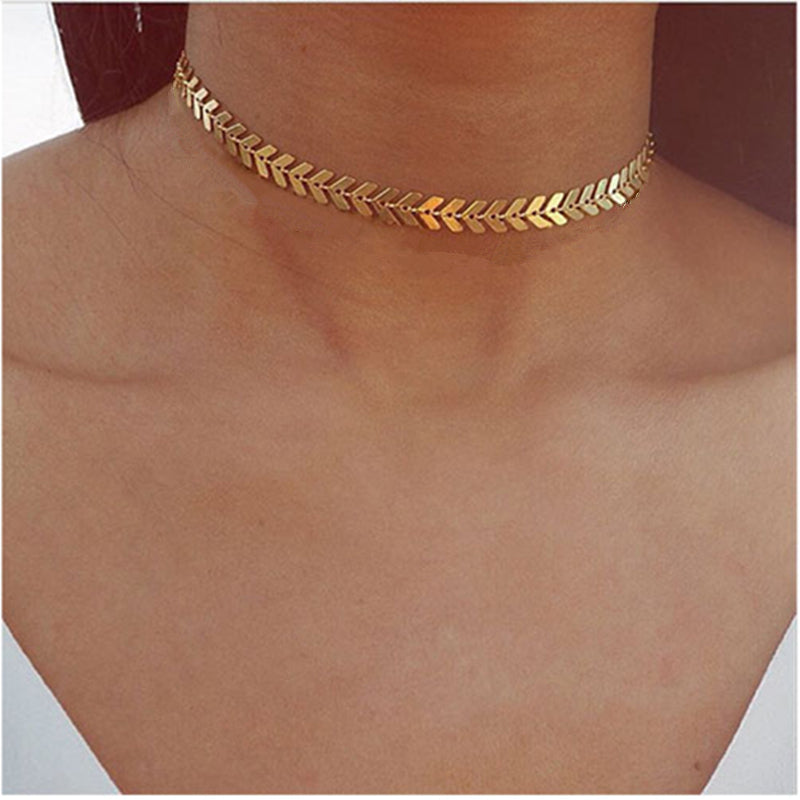 Gold Feathered Choker Necklace