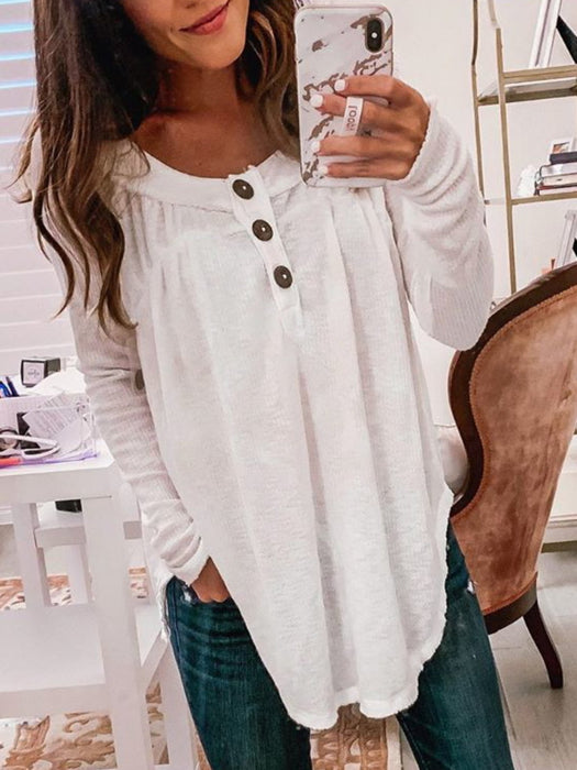 Plus Size Solid Casual Long Sleeve Tops