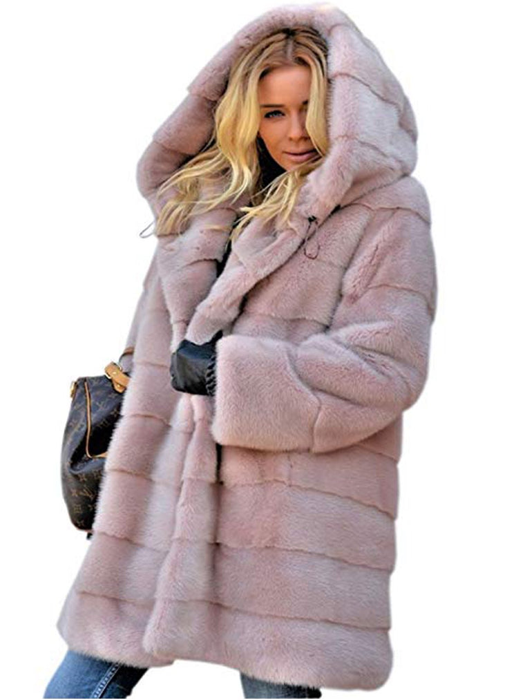 Womens Faux Fur Coats Plus Size Thick Big Hooded Long Winter Coats