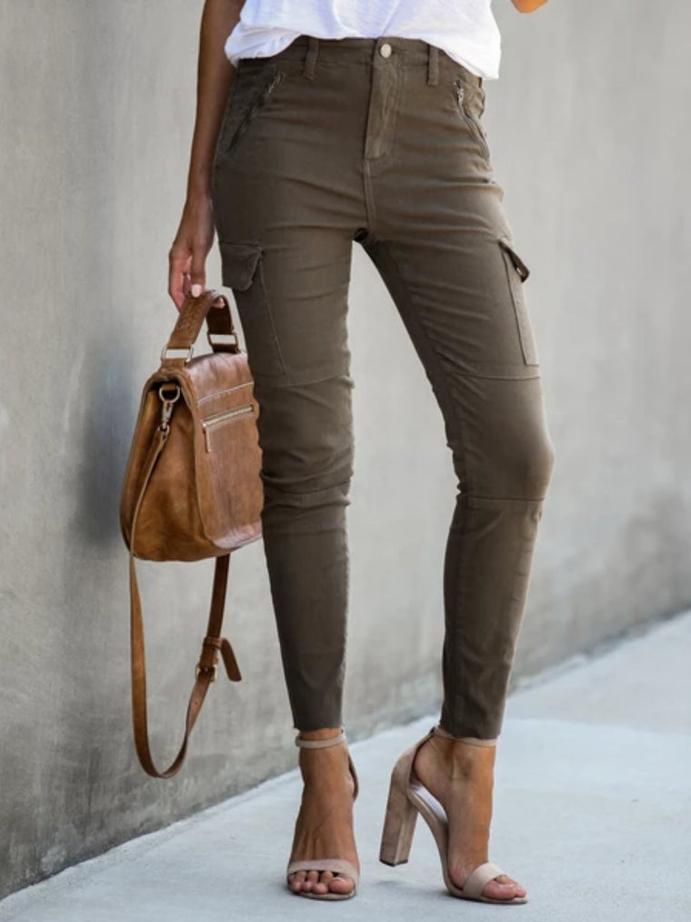 Deep Khaki Cotton-Blend Casual Zipper Pants