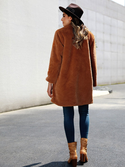 Long Sleeve Pockets Shift Outerwear