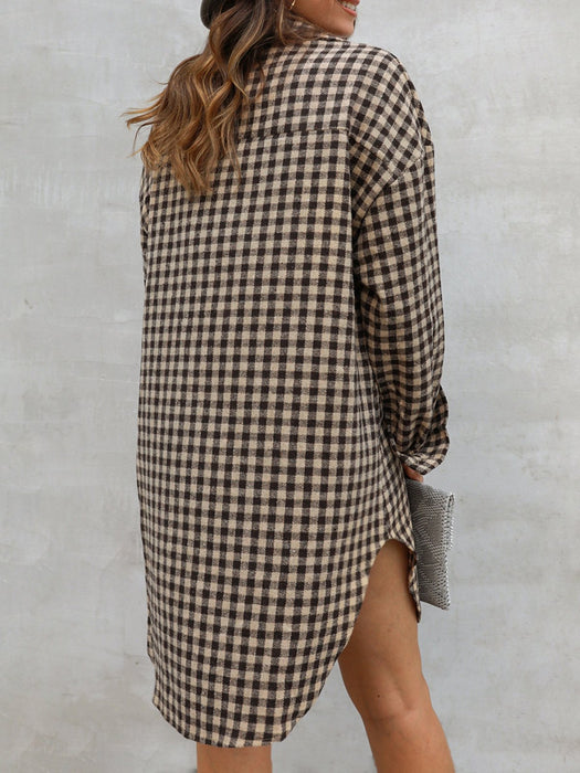 Casual Shift Checkered/plaid Shirt Collar Shirts & Tops
