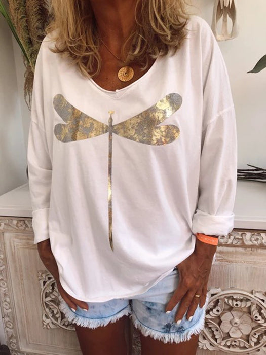 Casual Plus Size Long Sleeve Tee Shirts Tops Tunic