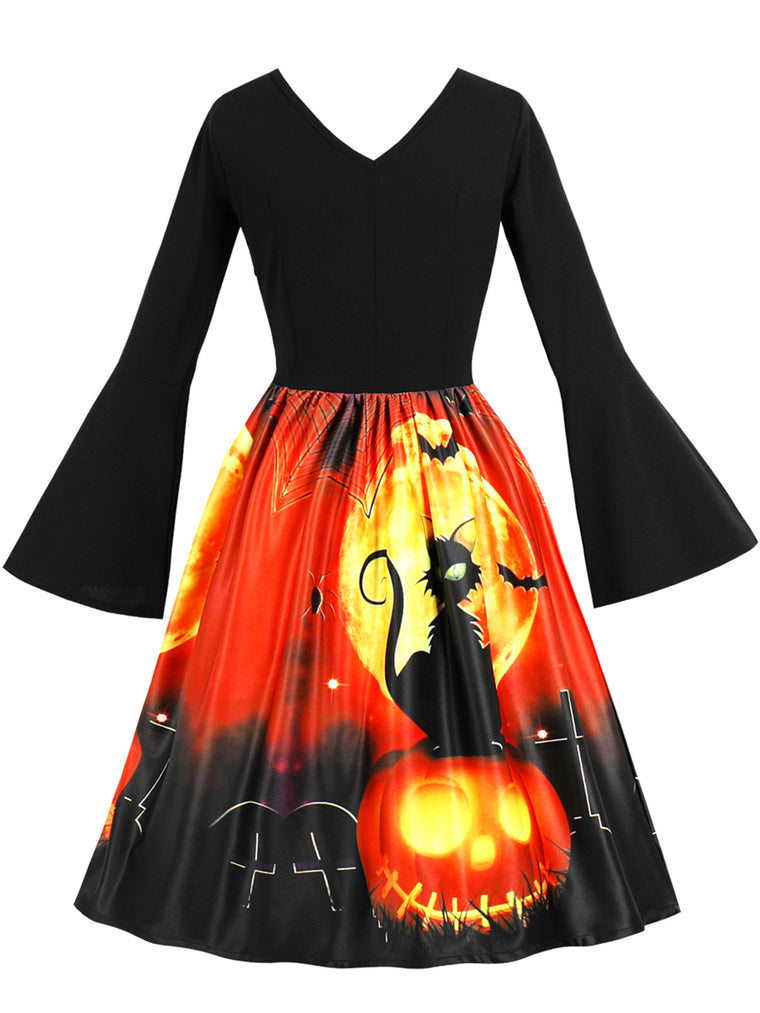 Halloween Animal V Neck Vintage Bell Sleeve A-Line Dress