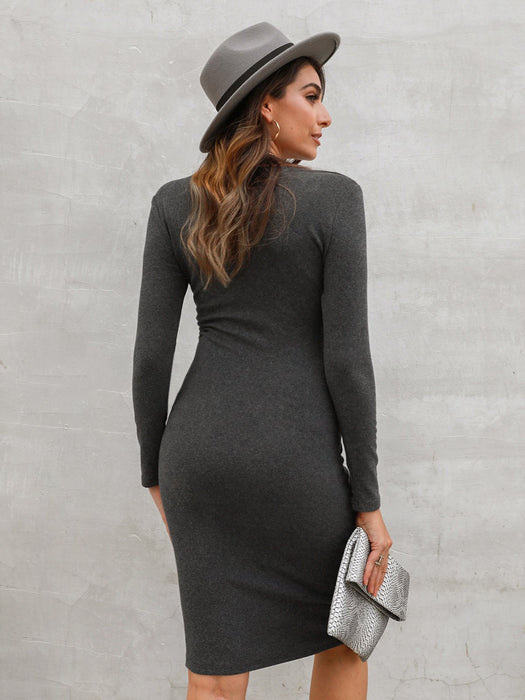 Sheath Long Sleeve V Neck Dresses