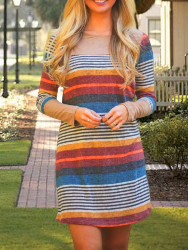 Khaki Stripes Long Sleeve Casual Dresses
