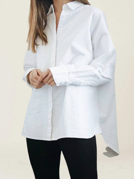 White Cotton-Blend Casual Shirt Collar Shirts & Tops