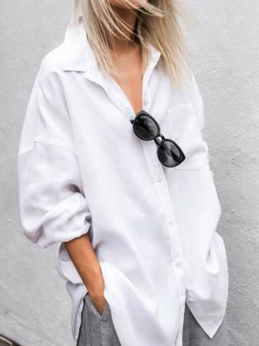 Plain Long Sleeve Casual Shirts & Tops