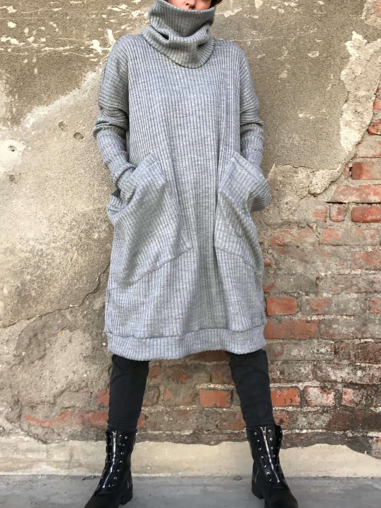 Solid Casual Turtleneck Casual Dresses